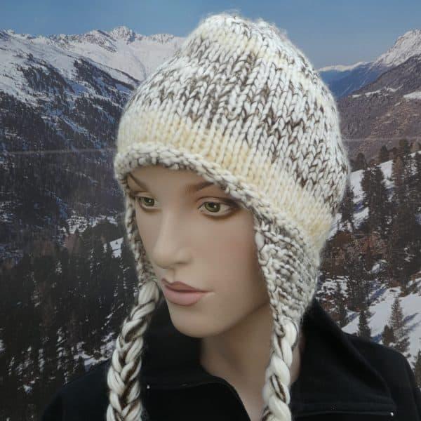 Hat long knit heidi brown
