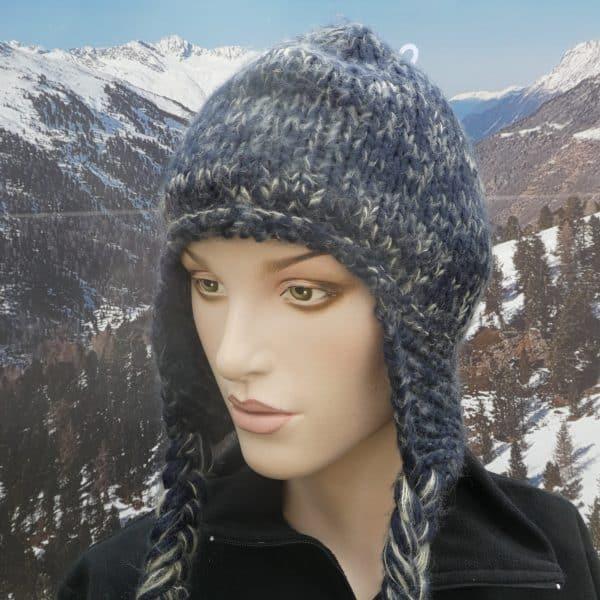 Hat long knit heidi blue