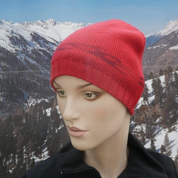 Hat simple beanie red grey
