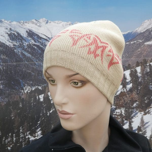 Hat simple beanie beige orange