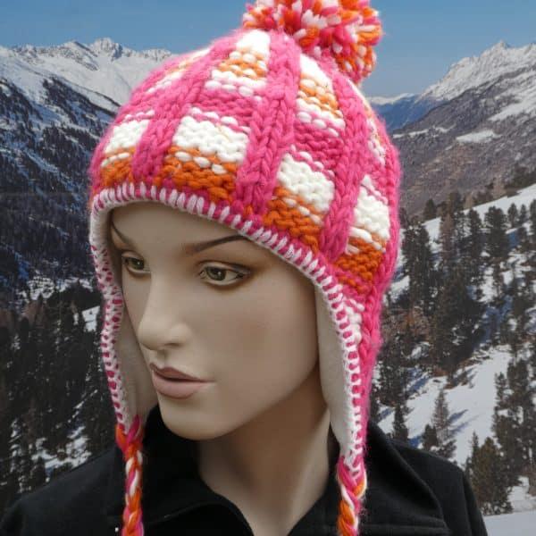 Hat pink white orange bobble