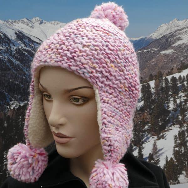 Hat pink colour fleck bobble