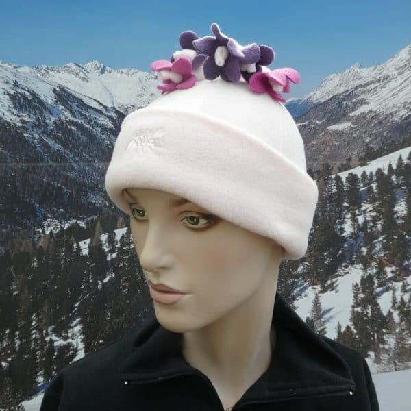 Hat pale pink flower tassle top