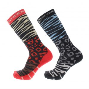 technical ultra soft ski socks animal print blue and coral